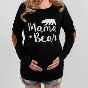 Letter Print Long Sleeve Maternity Pullover